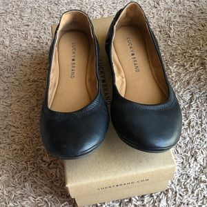 Lucky brand back lace leather flats